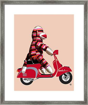Sock Monkey And Moped Framed Print by Kelly McLaughlan