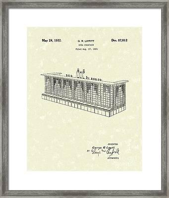 Soda Fountain 1932 Patent Art Framed Print