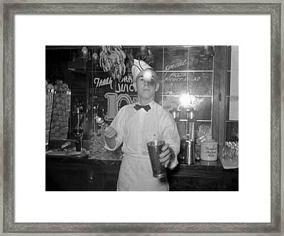 Soda Jerker Flipping Ice Cream Into Malted Milk Shakes Framed Print by Historic Photos