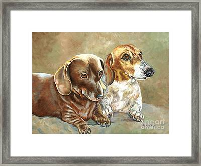Soffie And Woody Framed Print by Catherine Garneau
