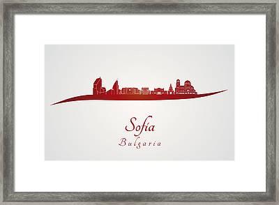 Sofia Skyline In Red Framed Print by Pablo Romero