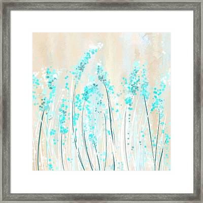 Soft Blues- Teal And Cream Art Framed Print by Lourry Legarde