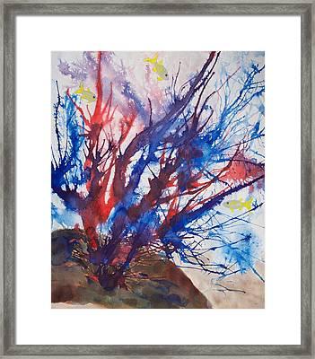 Soft Coral Splatter Framed Print