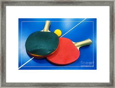 Soft Dreamy Ping-pong Bats Table Tennis Paddles Rackets On Blue Framed Print