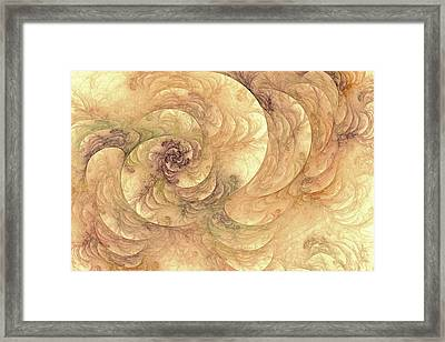 Soft Fractal Filigree Yellow Framed Print