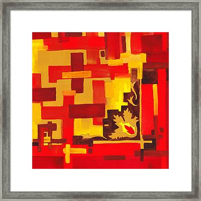 Soft Geometrics Abstract In Red And Yellow Impression II Framed Print