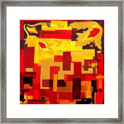 Soft Geometrics Abstract In Red And Yellow Impression IIi Framed Print by Irina Sztukowski