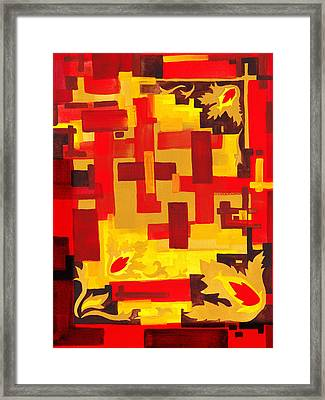Soft Geometrics Abstract In Red And Yellow Impression Iv Framed Print by Irina Sztukowski