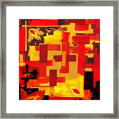 Soft Geometrics Abstract In Red And Yellow Impression V Framed Print by Irina Sztukowski