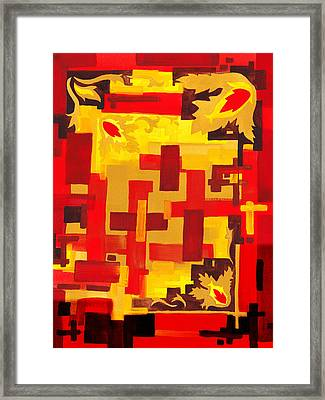 Soft Geometrics Abstract In Red And Yellow Impression Vi Framed Print