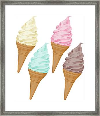Soft Ice Cream Set Framed Print by Saemilee