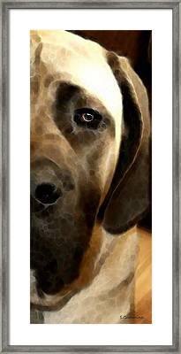 Soft Love - Mastiff Dog Art By Sharon Cummings Framed Print