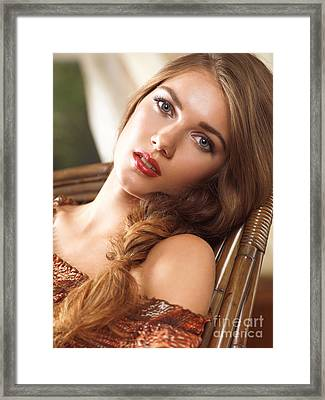 Soft Romantic Portrait Of A Young Woman In A Rocking Chair Framed Print