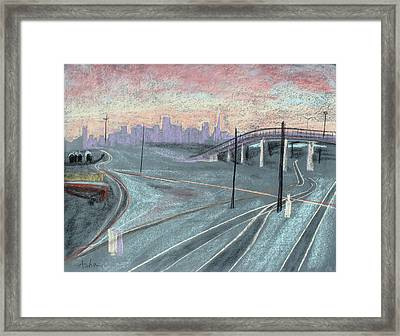 Soft Sunset Over San Francisco And Oakland Train Tracks Framed Print by Asha Carolyn Young