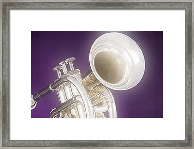 Soft Trumpet On Purple Framed Print by M K  Miller
