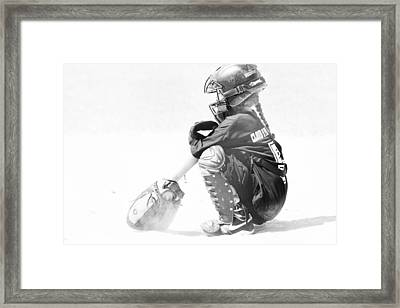 Softball Catcher Framed Print