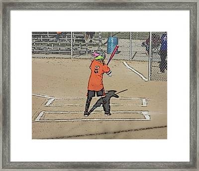 Framed Print featuring the photograph Softball Star by Michael Porchik