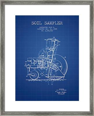 Soil Sampler Machine Patent From 1965 - Blueprint Framed Print