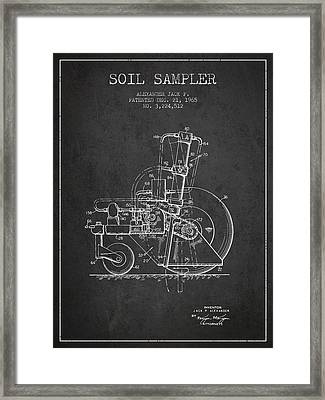 Soil Sampler Machine Patent From 1965 - Dark Framed Print