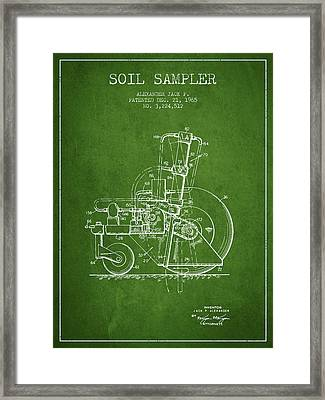 Soil Sampler Machine Patent From 1965 - Green Framed Print