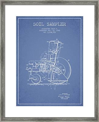 Soil Sampler Machine Patent From 1965 - Light Blue Framed Print