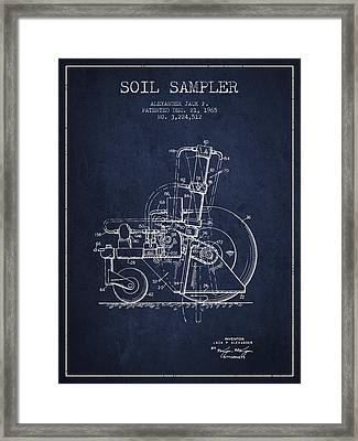 Soil Sampler Machine Patent From 1965 - Navy Blue Framed Print