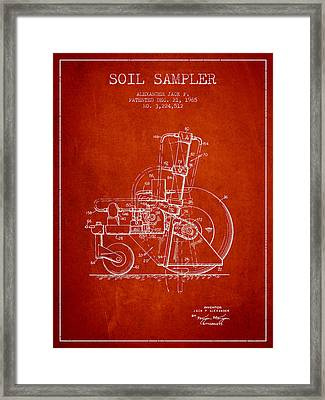 Soil Sampler Machine Patent From 1965 - Red Framed Print