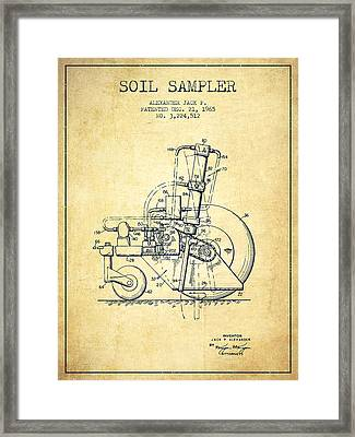 Soil Sampler Machine Patent From 1965 - Vintage Framed Print