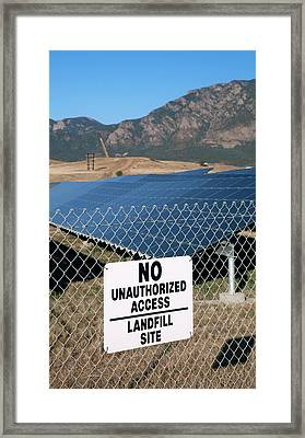 Solar Array On Landfill Site Framed Print by Jim West