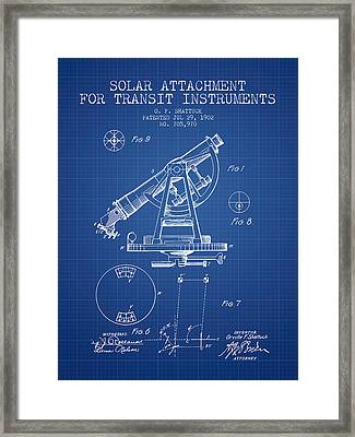 Solar Attachement For Transit Instruments Patent From 1902 - Blu Framed Print by Aged Pixel