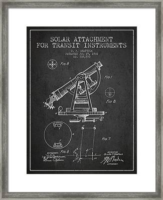 Solar Attachement For Transit Instruments Patent From 1902 - Cha Framed Print