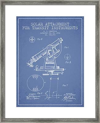 Solar Attachement For Transit Instruments Patent From 1902 - Lig Framed Print by Aged Pixel