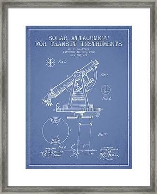 Solar Attachement For Transit Instruments Patent From 1902 - Lig Framed Print