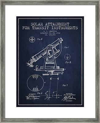 Solar Attachement For Transit Instruments Patent From 1902 - Nav Framed Print by Aged Pixel