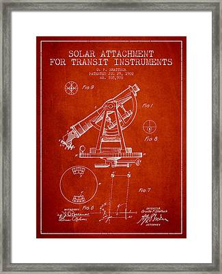 Solar Attachement For Transit Instruments Patent From 1902 - Red Framed Print