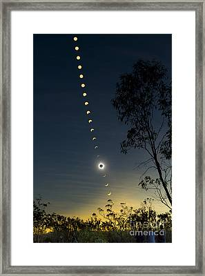 Solar Eclipse Composite, Queensland Framed Print by Philip Hart