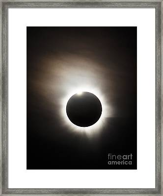 Solar Eclipse With Diamond Ring Effect Framed Print by Philip Hart