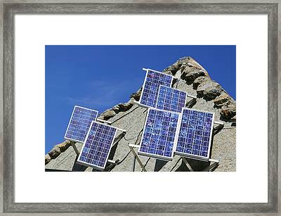 Solar Electric Panels On A Mountain Hut Framed Print