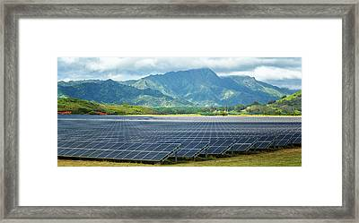 Solar Energy Panels On Field, Poipu Framed Print by Panoramic Images