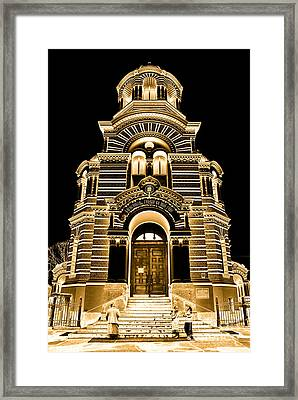 Solar Gold - Nativity Of Christ Orthodox Cathedral - Riga - Latvia Framed Print by David Hill