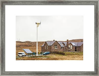 Solar Panels And A Wind Turbine Framed Print by Ashley Cooper