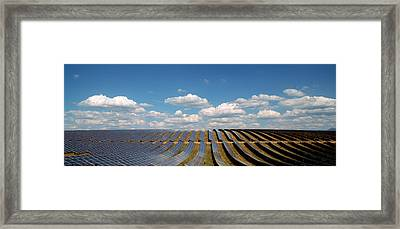 Solar Panels In A Field Framed Print by Panoramic Images