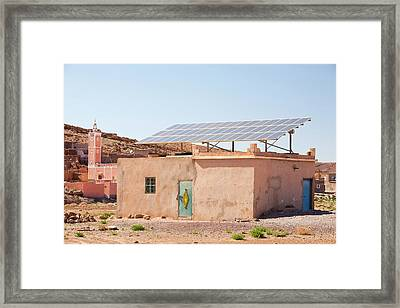 Solar Panels On A House Roof Framed Print by Ashley Cooper