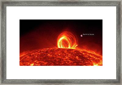 Solar Plasma Loops And Earth To Scale Framed Print