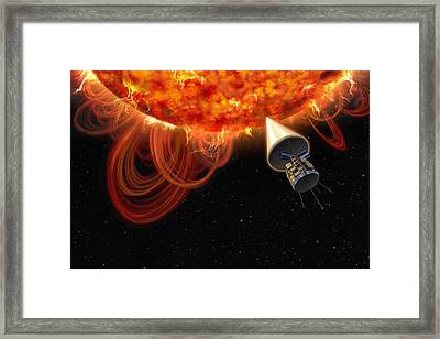 Solar Probe At The Sun, Artwork Framed Print by Science Photo Library