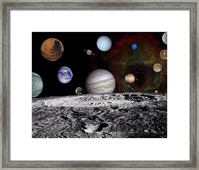 Solar System Montage Of Voyager Images Framed Print by Movie Poster Prints