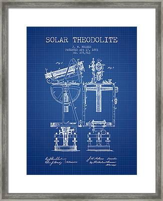 Solar Theodolite Patent From 1883 - Blueprint Framed Print by Aged Pixel