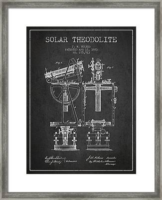 Solar Theodolite Patent From 1883 - Charcoal Framed Print by Aged Pixel