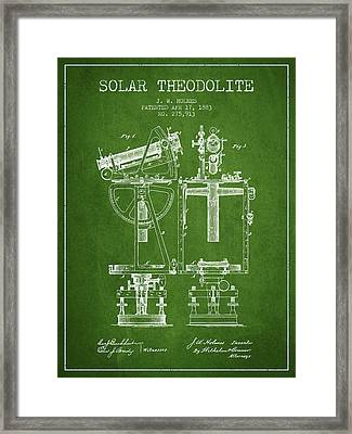 Solar Theodolite Patent From 1883 - Green Framed Print by Aged Pixel