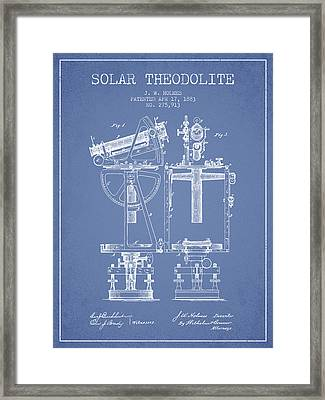 Solar Theodolite Patent From 1883 - Light Blue Framed Print by Aged Pixel